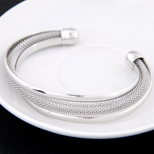 Zinc Alloy Cuff Bangle platinum color plated lead   cadmium free 68x64x14mm Inner Diameter:Approx 68mm Length:Approx 7.5 Inch