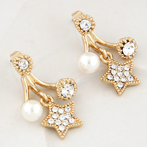 Zinc Alloy Split Earring, with ABS Plastic Pearl & Czech Rhinestone, Star, gold color plated, lead & cadmium free, 25x18mm, Sold By Pair