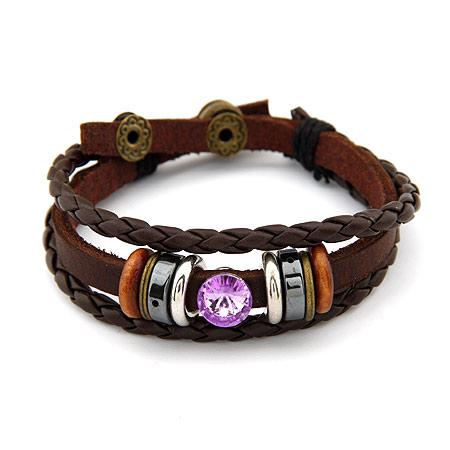 Кожаные браслеты с камнями женские
