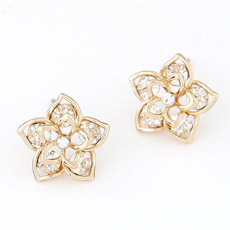 Rhinestone Earring, Zinc Alloy, with Czech Rhinestone, Flower, gold color plated, lead & cadmium free, 14mm, Sold By Pair