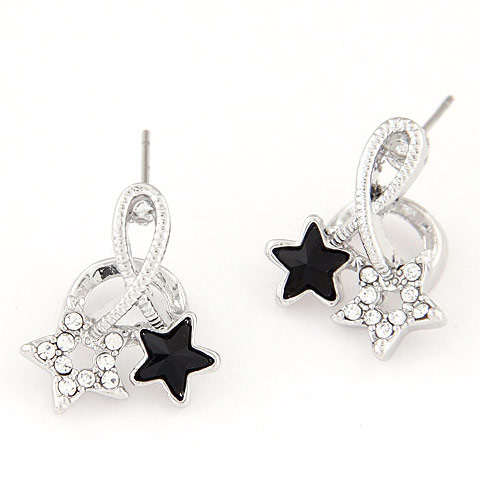 Zinc Alloy Stud Earring, with Czech Rhinestone, Star, platinum color plated, lead & cadmium free, 17x15mm, Sold By Pair
