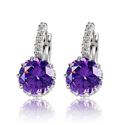 Brass Leverback Earring, Flat Round, platinum color plated, with cubic zirconia, purple, lead & cadmium free, 21x9mm, Sold By Pair