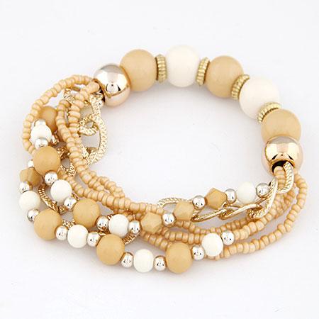 Акриловые браслеты, цинковый сплав, с Акрил, плакирован золотом, цвет желтая земля, не содержит свинец и кадмий, 170mm, Продан через Приблизительно 6.69 дюймовый Strand