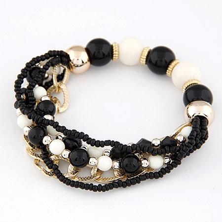 Акриловые браслеты, цинковый сплав, с Акрил, плакирован золотом, черный, не содержит свинец и кадмий, 170mm, Продан через Приблизительно 6.69 дюймовый Strand