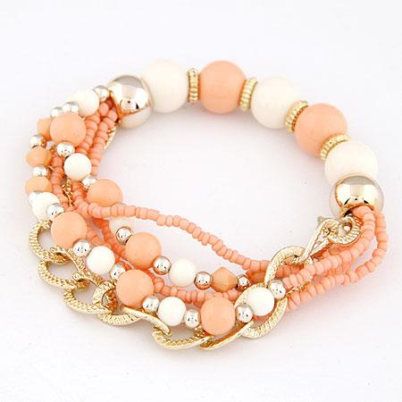 Акриловые браслеты, цинковый сплав, с Акрил, плакирован золотом, оранжевый, не содержит свинец и кадмий, 170mm, длина:Приблизительно 6.69 дюймовый, продается указан