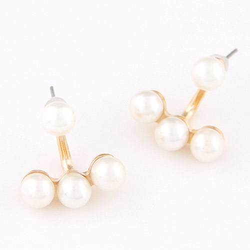 Zinc Alloy Split Earring, with ABS Plastic Pearl, Flower, gold color plated, white, lead & cadmium free, 18x17mm, Sold By Pair