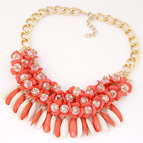 Fashion Statement Necklace, Zinc Alloy, with Resin, gold color plated, twist oval chain, light red, lead & cadmium free, 400x60mm, Sold Per Approx 15.75 Inch Strand