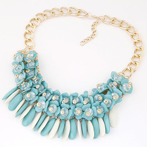 Fashion Statement Necklace, Zinc Alloy, with Resin, gold color plated, twist oval chain, blue, lead & cadmium free, 400x60mm, Sold Per Approx 15.75 Inch Strand