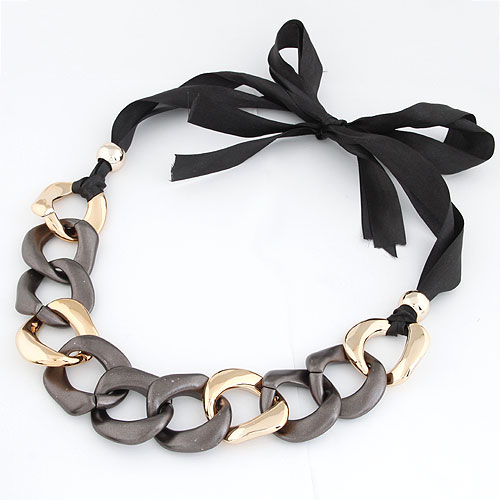 CCB Necklaces, Copper Coated Plastic, with Satin Ribbon, plated, 800x300x40mm, Sold Per Approx 31.5 Inch Strand