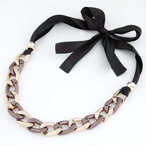 CCB Ожерелья, Пластик с медным покрытием, с Сатиновая лента, Другое покрытие, не содержит свинец и кадмий, 5-10mm, длина:Приблизительно 15.5 дюймовый, продается PC