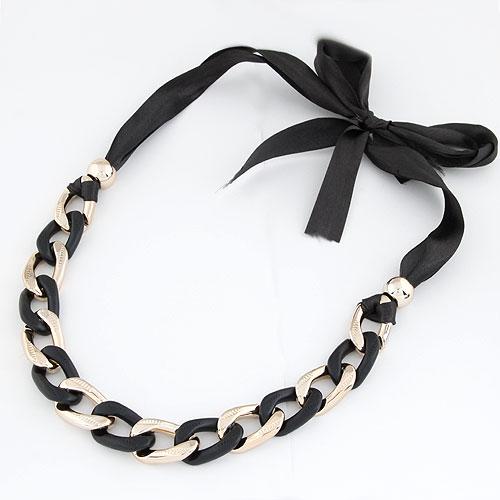 Пластик с медным покрытием Ожерелье, с Сатиновая лента, плакирован золотом, Продан через 16.5 дюймовый Strand