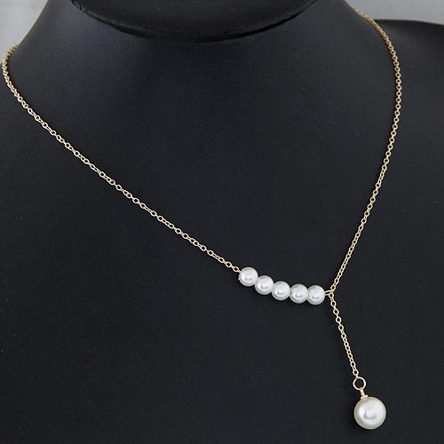 Ожерелья из металла, Железо, с ABS пластик жемчужина, плакирован золотом, Овальный цепь, белый, не содержит свинец и кадмий, 10mm, Продан через Приблизительно 15.5 дюймовый Strand