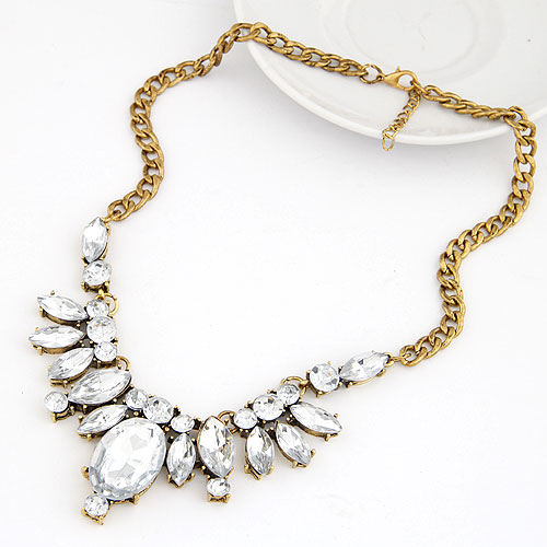 Resin Necklace, Zinc Alloy, with Resin, Flower, antique bronze color plated, twist oval chain, clear, lead & cadmium free, 400x100x38mm, Sold Per Approx 15.75 Inch Strand