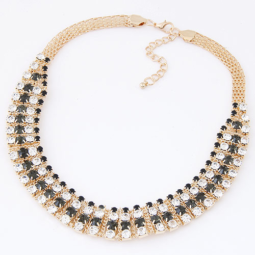 Zinc Alloy Jewelry Necklace, gold color plated, with rhinestone, lead & cadmium free, 380x140x18mm, Sold Per Approx 14.96 Inch Strand