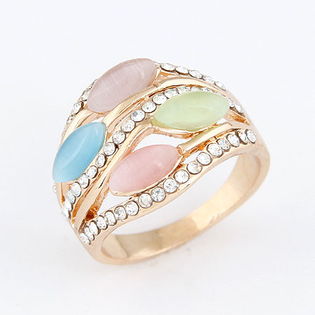 Cats Eye Finger Ring Zinc Alloy with Cats Eye rose gold color plated multi-colored lead   cadmium free 16mm US Ring Size:6-9