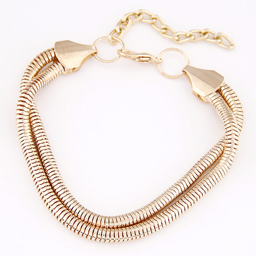 Zinc Alloy Bracelet with 5cm extender chain rose gold color plated 2-strand lead   cadmium free 190mm Sold Per Approx 7.48 Inch Strand