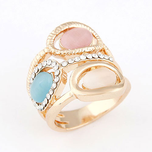 Cats Eye Finger Ring Zinc Alloy with Cats Eye rose gold color plated multi-colored lead   cadmium free 23mm US Ring Size:6-9