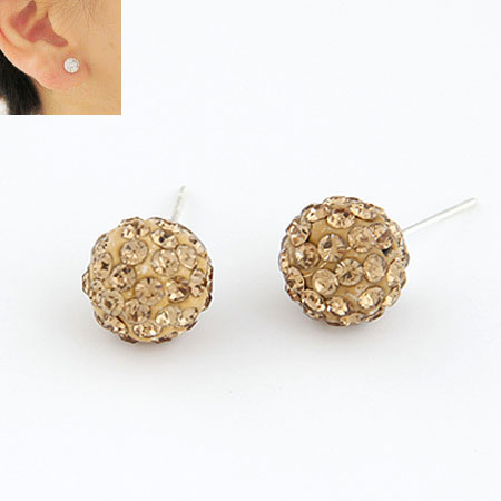 Rhinestone Earring, Zinc Alloy, with Rhinestone, Flower, gold color plated, lead & cadmium free, 10mm, Sold By Pair