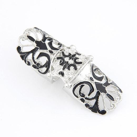 Кольца на весь палец, цинковый сплав, плакированный цветом под старое серебро, не содержит свинец и кадмий, 60x20mm, размер:6-9, продается PC