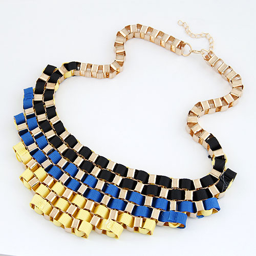Сеть Тканые ожерелье, цинковый сплав, с гросгрейнская лента, плакирован золотом, не содержит свинец и кадмий, 200x55mm, Продан через Приблизительно 16.54 дюймовый Strand