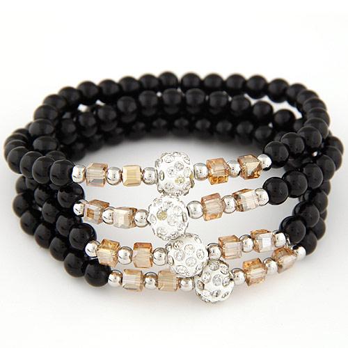 Стеклянные бусы многослойные браслеты, Стеклянный, с Кристаллы, 4-стренги & граненый & со стразами, черный, 700x10mm, Продан через Приблизительно 27.56 дюймовый Strand