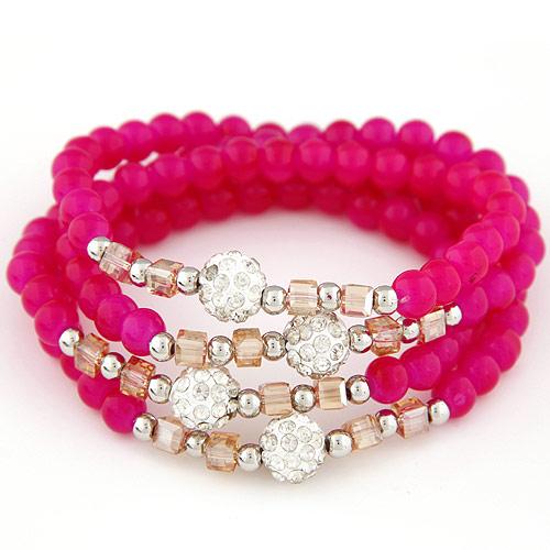 Стеклянные бусы многослойные браслеты, Стеклянный, с Кристаллы & цинковый сплав, Платиновое покрытие платиновым цвет, крашеный & 4-стренги & граненый & со стразами, ярко-розовые красный, 700x10mm, Продан через Приблизительно 27.56 дюймовый Strand