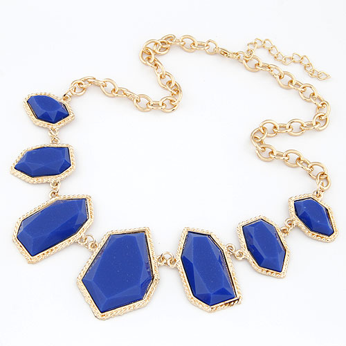 Resin Necklace, Zinc Alloy, with Resin, gold color plated, oval chain, blue, lead & cadmium free, 420x200x47mm, Sold Per Approx 16.54 Inch Strand