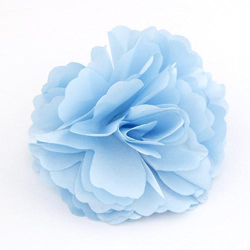 Цветок волос клип Брошь, цинковый сплав, с ткань, Форма цветка, небесно-голубой, не содержит свинец и кадмий, 72x72mm, продается PC