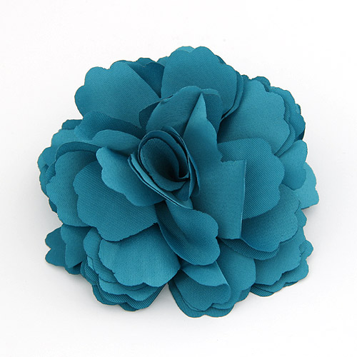 Цветок волос клип Брошь, цинковый сплав, с ткань, Форма цветка, Платиновое покрытие платиновым цвет, голубой, не содержит свинец и кадмий, 72mm, продается PC