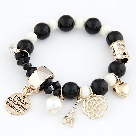 Акриловые браслеты, цинковый сплав, с Акрил, Круглая, плакирован золотом, браслет-оберег, черный, не содержит свинец и кадмий, 175mm, Продан через Приблизительно 6.89 дюймовый Strand