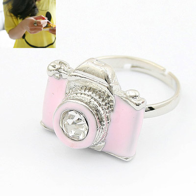 Zinc Alloy Open Finger Ring, Camera, platinum plated, adjustable & enamel, pink, lead & cadmium free, 18x15mm, US Ring Size:6-9, Sold By PC