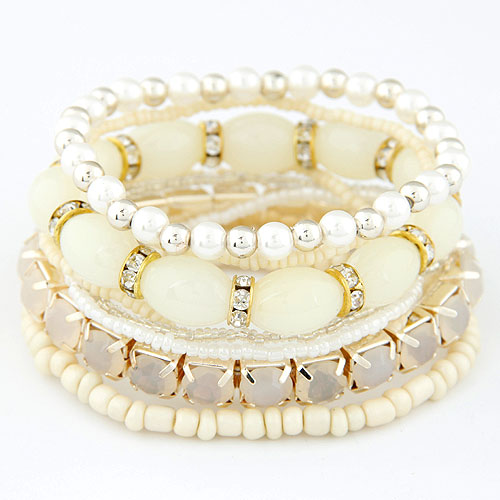 Zinc Alloy Bracelet Set with Glass Seed Beads   Resin gold color plated beige lead   cadmium free 170mm Length:Approx 6.69 Inch 7Strands/Set