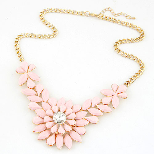 Resin Necklace, Zinc Alloy, with Resin, Flower, gold color plated, twist oval chain, pink, lead & cadmium free, 400x108x50mm, Sold Per Approx 15.75 Inch Strand