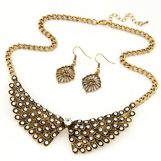 Zinc Alloy Jewelry Sets, earring & necklace, antique bronze color plated, twist oval chain, lead & cadmium free, 400x120x28mm, Length:Approx 15.75 Inch, Sold By Set