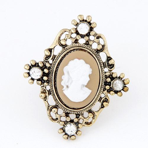 цинковый сплав Манжеты палец кольцо, с Кристаллы & канифоль, зерколо, плакированный цветом под старое золото, не содержит свинец и кадмий, 43x35mm, длина:1.69 дюймовый, продается PC