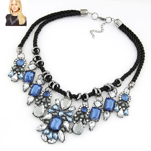 Fashion Statement Necklace, Zinc Alloy, with Nylon Cord, Flower, plumbum black color plated, blue, lead & cadmium free, 400x150x75mm, Sold Per Approx 15.75 Inch Strand