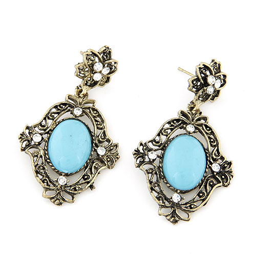 Fashion Statement Earring Zinc Alloy with Rhinestone   Resin Rhombus antique bronze color plated lead   cadmium free 55x30mm