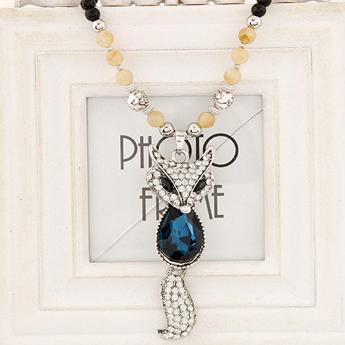 Glass Sweater Chain Necklace, Zinc Alloy, with Glass & Resin, platinum color plated, lead & cadmium free, 800x95x30mm, Sold Per Approx 31.5 Inch Strand