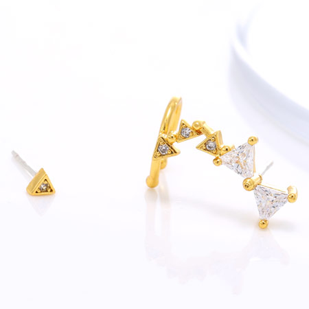 Asymmetric Earrings, Brass, Butterfly, gold color plated, clear, nickel, lead & cadmium free, 30x6mm, 3mm, Sold By Pair
