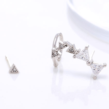 Asymmetric Earrings, Brass, platinum color plated, with cubic zirconia, lead & cadmium free, 30x6mm, 3mm, Sold By Pair