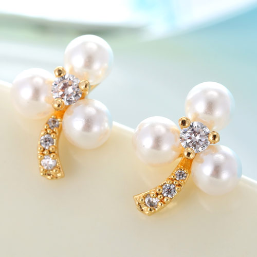 Cubic Zircon (CZ) Stud Earring, Brass, with ABS Plastic Pearl, Flower, real gold plated, with cubic zirconia, lead & cadmium free, 12.5mm, Sold By Pair