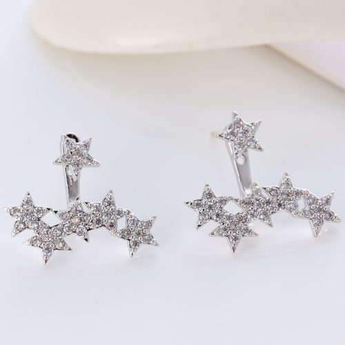 Brass Split Earring, Star, platinum color plated, micro pave cubic zirconia, lead & cadmium free, 16.4mm, Sold By Pair