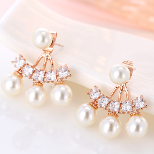 Zinc Alloy Split Earring, with ABS Plastic Pearl, rose gold color plated, with cubic zirconia, lead & cadmium free, 22.6x20mm, Sold By Pair
