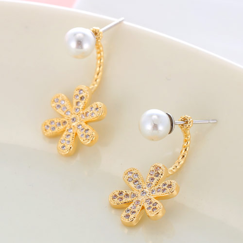 Brass Split Earring, with South Sea Shell, Flower, gold color plated, micro pave cubic zirconia, white, nickel, lead & cadmium free, 23x12mm, Sold By Pair