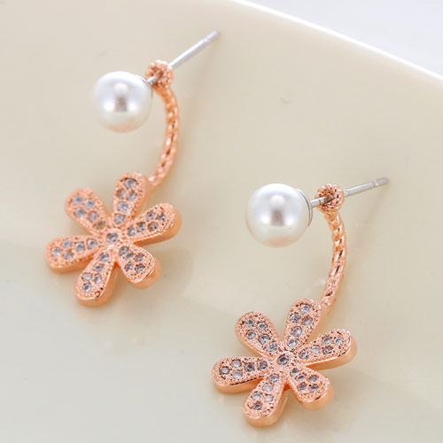 Brass Split Earring, with South Sea Shell, Flower, rose gold color plated, micro pave cubic zirconia, white, nickel, lead & cadmium free, 23x12mm, Sold By Pair