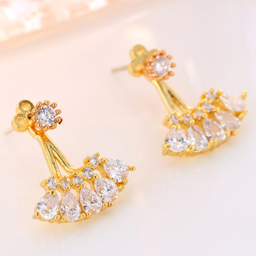 Brass Split Earring, Flower, gold color plated, with cubic zirconia, clear, nickel, lead & cadmium free, 16.5mm, Sold By Pair