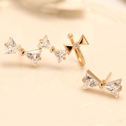 Asymmetric Earrings, Brass, Bowknot, gold color plated, with cubic zirconia, clear, nickel, lead & cadmium free, 26mmx12mm, Sold By Pair