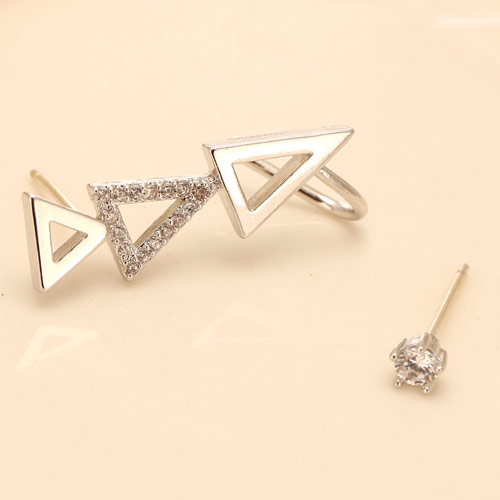 Asymmetric Earrings, Brass, Triangle, platinum color plated, with cubic zirconia, nickel, lead & cadmium free, 25mmx3.5mm, Sold By Pair