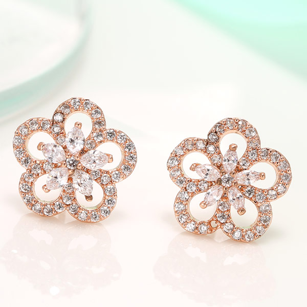 Cubic Zircon (CZ) Stud Earring, Brass, Flower, real rose gold plated, with cubic zirconia, lead & cadmium free, 18mm, Sold By Pair