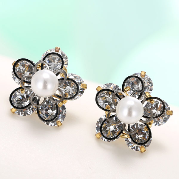 Cubic Zircon (CZ) Stud Earring, Brass, Flower, plated, with cubic zirconia, lead & cadmium free, 15mm, Sold By Pair